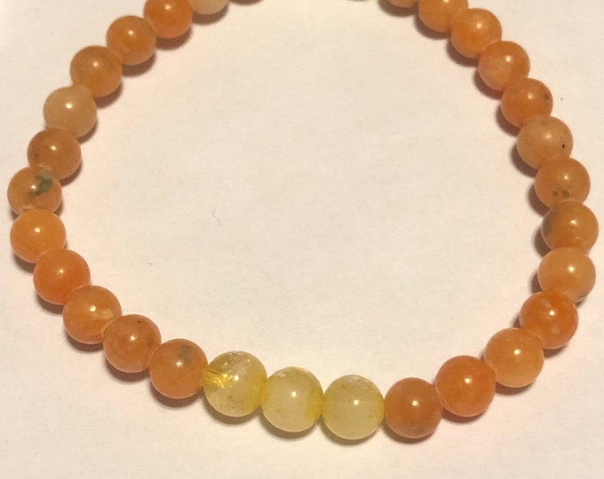 Featured listing image: 6mm AAA Citrine and Orange Calcite Genuine Natural Gemstone Stretch Bracelet Healing Mothers Day Gift Stackable gift