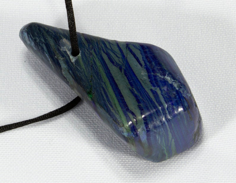 Azurite Freeform Pendant polished and fitted with Cord Azurite and Malachite