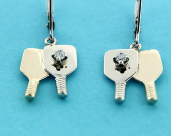 Pickleball Double Paddle Earrings with Diamond Balls