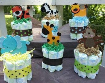 6 jungle mini diaper cakes, baby shower centerpiece, decoration, gift