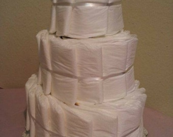 Plain 3 Tier diaper cake, baby shower centerpiece or decoration, undecorated cake DIY