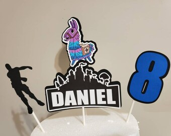 4 sticks, game personalized cake topper, centerpiece, party decoration