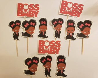 12 Boss Baby girl, African American cupcake toppers, party decoration, AA toothpicks