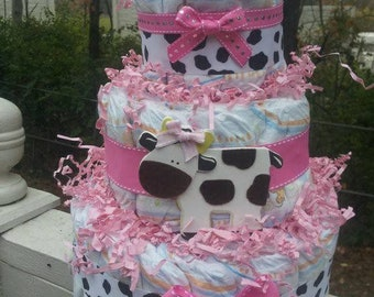 Cow girl 3 Tier diaper cake, baby shower centerpiece or party decoration
