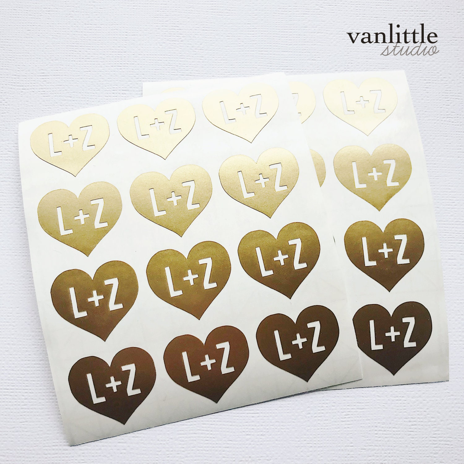 1 custom initial gold foil heart stickers real foil wedding stickers stationery wedding heart sticker envelope seal