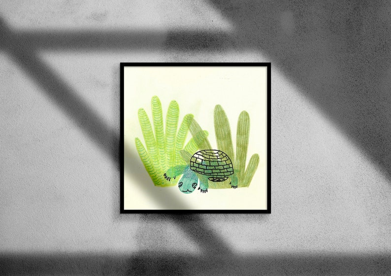 My small turtle hiding in water plants  drawing ink colored pencil  children illustration print  20x20  10x10