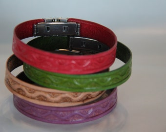 Colored Leather Bracelet