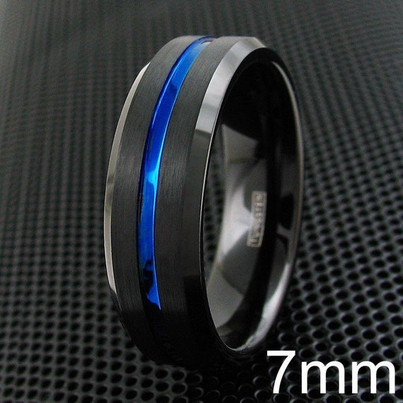Personalized Engraved Awesome 7mm Black Tungsten Carbide Wedding Band w//Thin Blue Line Stripe /& Beveled Edges.