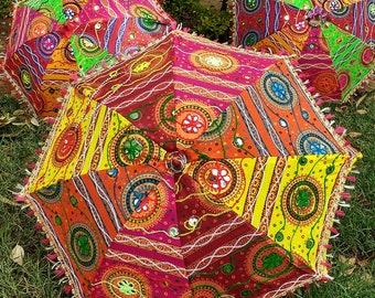 Indian umbrella etsy 3 pcs indian wedding umbrella floral designer outdoor decorations party look decorations cotton fabric mirror work vintage parasols umbrella junglespirit Image collections