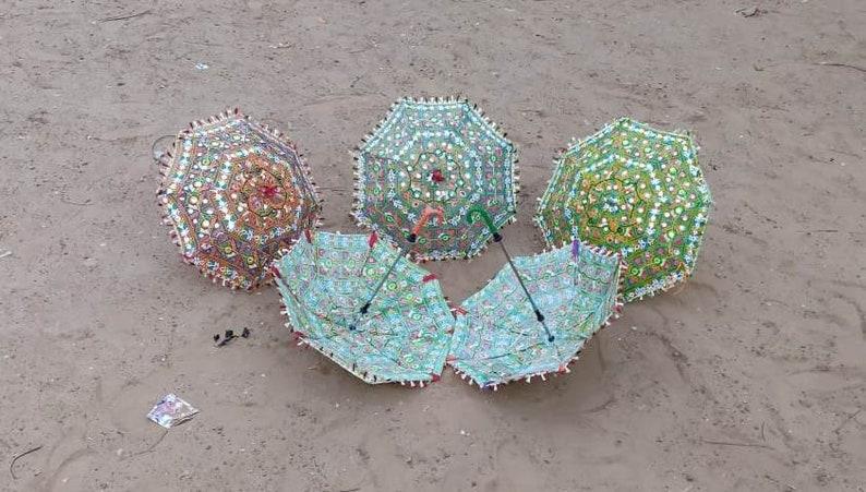 5 Pcs Lot Indian Umbrella Wedding Decoration Vintage Mirrorwork Parsols Handmade Cotton Fabric Rajasthani Ethnic Umbrella Outdoor Decoration