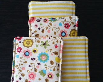 Quilted Coasters Retro Flowers with Yellow Stripes, Spring- Quilted, set of 4