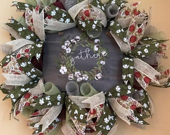 Gather Deco Mesh Wreath, Cottonball themed Sign