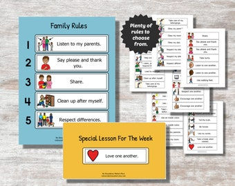Family Rules Chart, Family Rules Visual Support, Family Rules Visual Aid, Printable Family Rules, Customizable Rules, House Rules