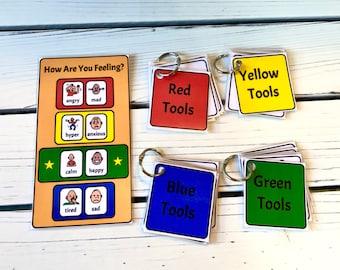 Digital Self-Regulation Cards, Self-Regulation Chart, Big Feelings Chart, Sensory Diet, Sensory Tools, Calm Down Tools, Calm Down Kit