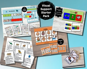 Visual Support Starter Pack, Self-Regulation Tools, Sensory Diet, Feelings Chart, Breathing Cards, ASD Tools, Autism Tools, Visual Schedule
