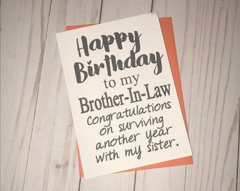 Happy Birthday Brother In Law Funny Card 5x7