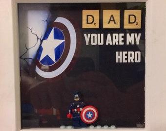 Captain America Lego Minifigure Frame Marvel 6 x 6 inch