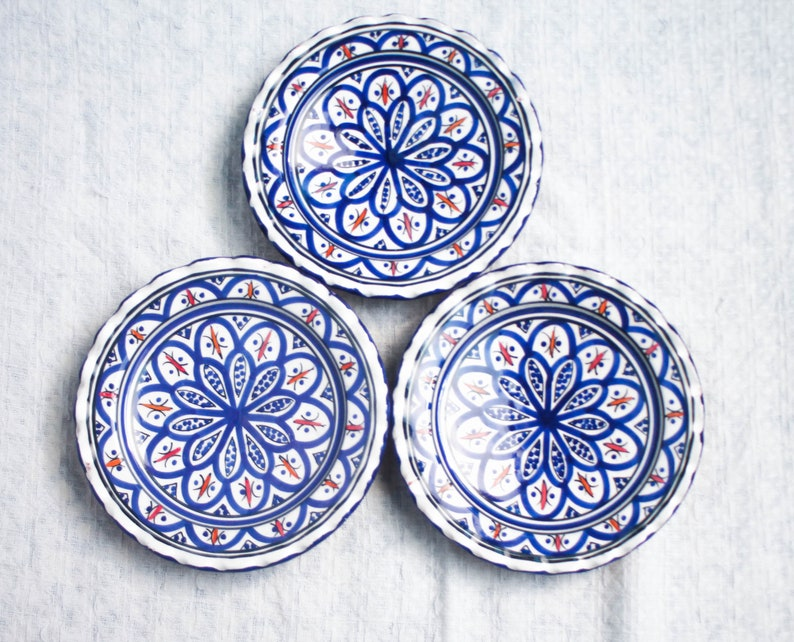 Set Of Moroccan Ceramic Plates Decorative Plates For Hanging Etsy