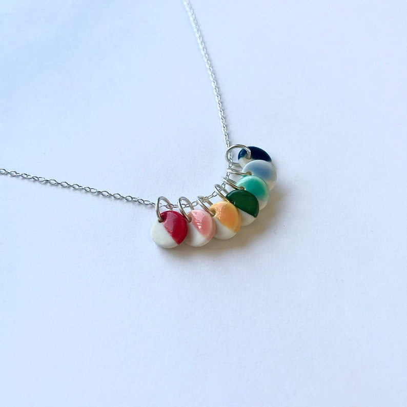 Porcelain and Silver Necklace Rainbow Minimal Ceramic Jewellery NHS Charity Pendant Necklace   Sterling Silver Chain