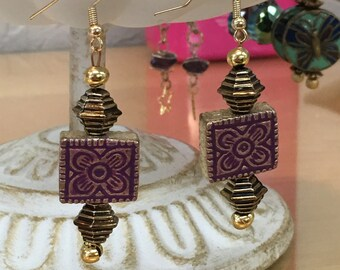 Purple and Gold Embossed Boho Chic Unique enameled metal earrings.