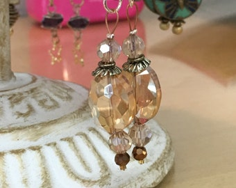 Champaign color almond shaped Crystal with Silver accents Boho Chic mixed metals handmade earrings