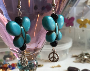 Handmade Bohemian turquoise butterfly earrings with peace sign.