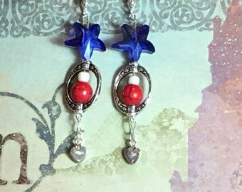 Happy Memorial Day USA!  Red white and blue silver earrings with patriotic colors.