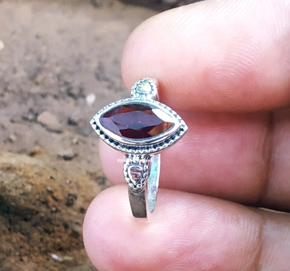 Boho Ring 5 to 10 ooak Ring,Gatnet,Ring, Beautiful Red Garnet Stone Solid 925 Sterling Silver Amazing Ring US