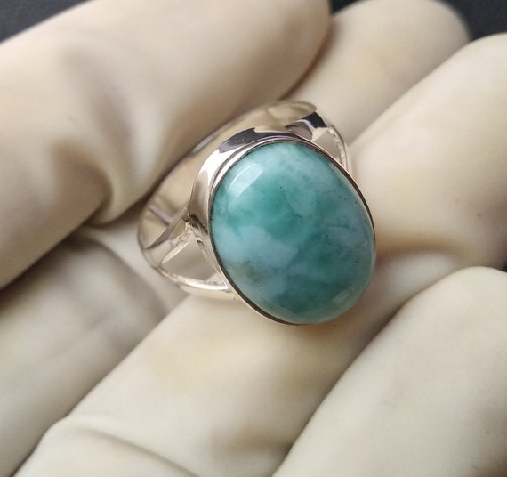 Handmade Republic Larimar Gemstone 925 Solid Sterling Silver Ring Size 8 Everyday Ring Larimar Birthstone ring antique mothers day gift
