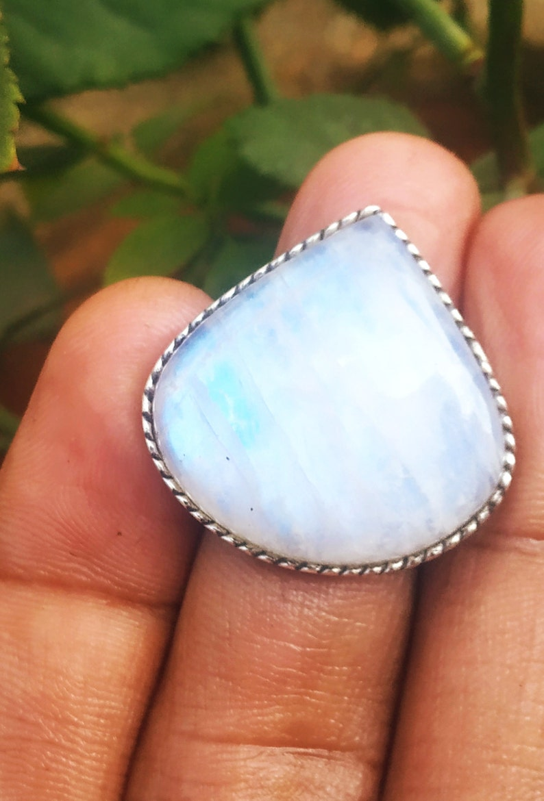 Moonstone ring 92.5% sterling silver ring Blue Fire image 0