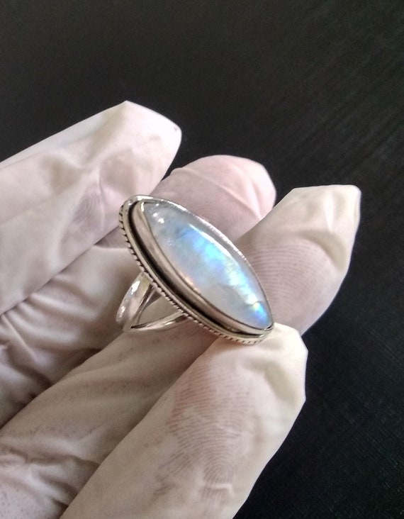 925 Sterling Silver Ring Solid Silver Ring Rainbow moonstone Ring Flashy Blue Moonstone Ring Christmas Gift Long Oval Stone Ring