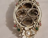 Florenza jeweled heavy white metal 4 tube lipstick footed vanity holder tray floral pearl green pink rhinestone accented