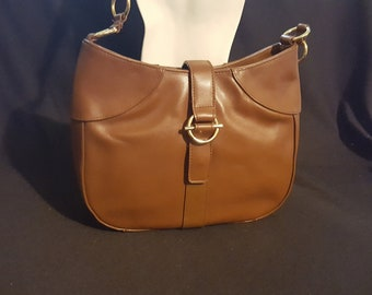 Vintage AJ Valenci luxury brown leather shoulder handbag flap magnetic  closure goldtone hardware excellent condition 451e3d70299fe