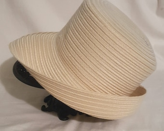 5a8b06bb5c74a Vintage natural beige straw colored cotton polyester weave semi sheer large  brim sun hat fedora safari bucket 3 in. Brim band 22