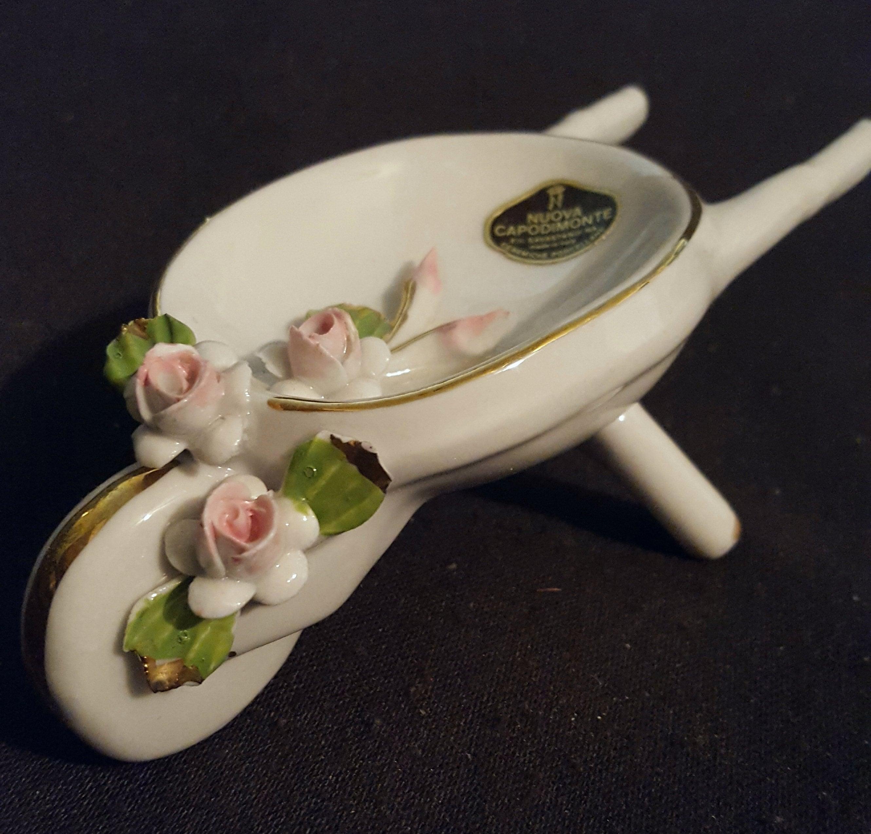 Capodimonte Mini Fine Porcelain Wheelbarrow White Pink Roses Etsy