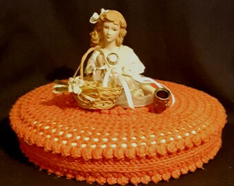 "Rare xl porcelain half doll pincushion with thimble basket & needle holder 12"" round crocheted pin cushion pillow"
