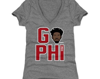 2c19994138b Joel Embiid Women's Shirt | Philadelphia Basketball | Women's V-Neck | Joel  Embiid GO PHI R WHT