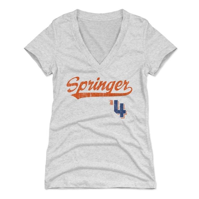 buy popular b91fd 3577f George Springer Women's Shirt | Houston Baseball | Women's V-Neck | George  Springer Script O