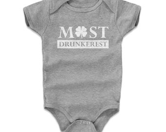 St. Patrick's Day Baby Clothes | Drinking Kids Baby Romper | Most Drunkerest Wht
