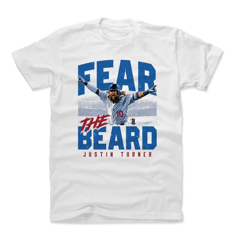 47466a22 Justin Turner Shirt | Los Angeles D Baseball | Men's Cotton T-Shirt |  Justin Turner Fear The Beard B