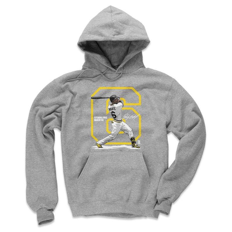Men/'s Hoodie Starling Marte Outline Y Wht Pittsburgh Baseball Starling Marte Hoodie