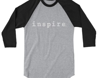 inspire Brand 3/4 sleeve Unisex raglan T-shirt  - Comes in 5 Colors