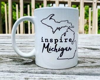 inspire Michigan White glossy mug