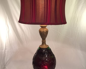 Red glass lamp etsy vintage mid century red glass table lamp aloadofball Images