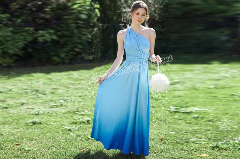 Ombre Bridesmaid Dress in Light Blue Infinity Bridesmaid Dress Multi-way Wrap Dress Convertible Bridesmaid Dress Maternity Dress Party Dress