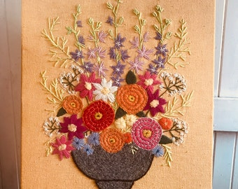 Vintage hand embroidered wall piece