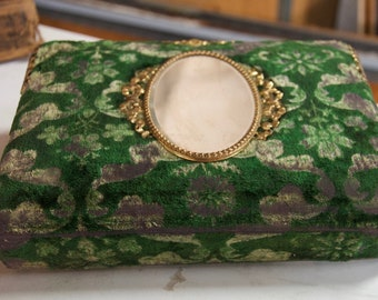 Victorian Green Crushed Velvet Exterior Photo Album - Beveled Oval Mirror - Hinges - Pictures