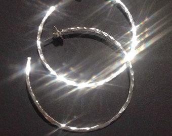 Pure silver hoop earrings