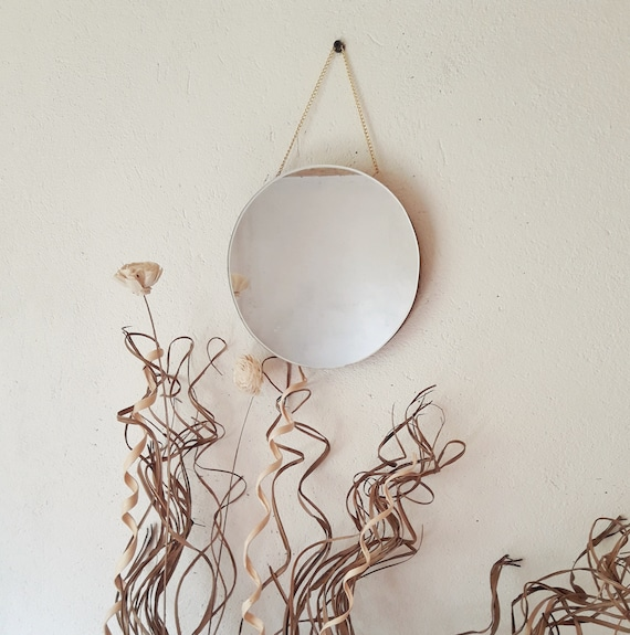 Round Mirror On A Chain Wall Hanging, Round Mirror Wall Decor Wood