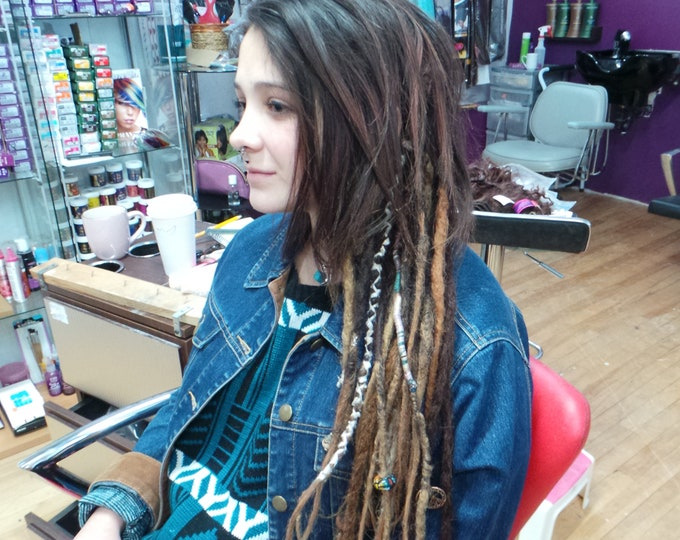 "CUSTOM DREADLOCK EXTENSIONS - Custom Colors & Sizes-  20""- 50 pieces- 100% Human Hair"